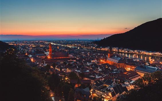 Wallpaper Germany, Heidelberg, night, city, lights