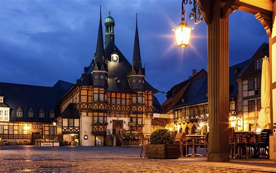 Fondos de pantalla Alemania, cafetería, casas, luces, noche, ciudad