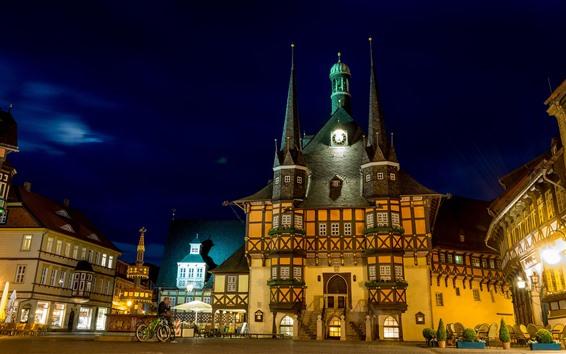Fondos de pantalla Alemania, ciudad, noche, castillo, luces