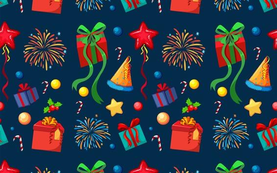 Fondos de pantalla Regalos, fuegos artificiales, sombrero, estrellas, caramelo, cuadro del arte
