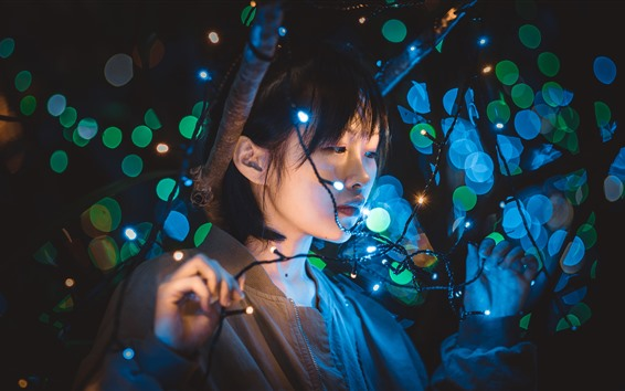 Fondos de pantalla Chica, luces, círculos de luz, noche.