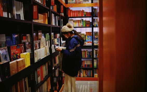 Fondos de pantalla Libro de lectura para niña, librería