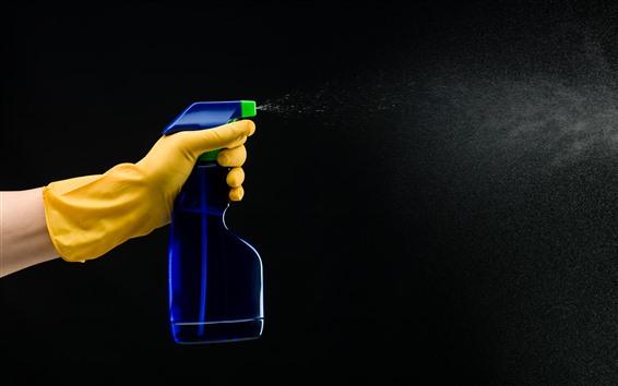Wallpaper Gloves, hand, plastic bottle, cleaner, spray