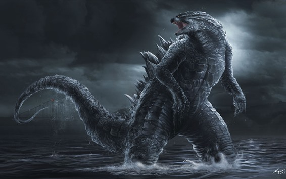 Wallpaper Godzilla, art picture