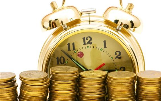 Fondos de pantalla Monedas de oro, reloj, dinero.