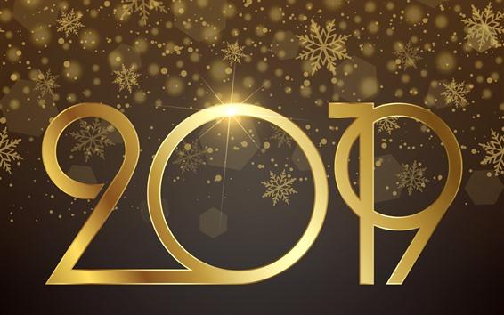 Fondos de pantalla Golden 2019, feliz año nuevo, brillo