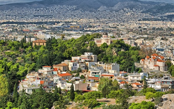 Wallpaper Greece, city, houses, trees