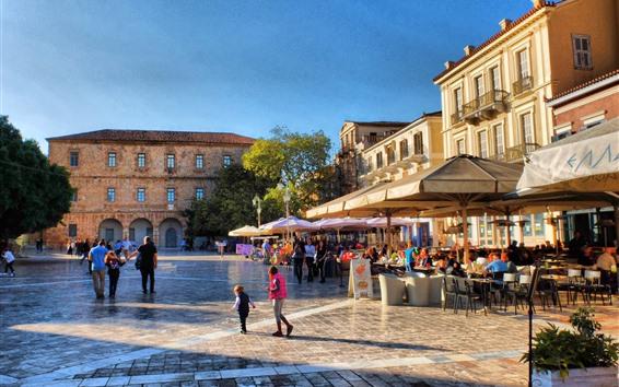 Papéis de Parede Grécia, rua da cidade, café