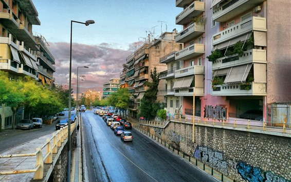 Wallpaper Greece, cityscape, road, cars, buildings, city