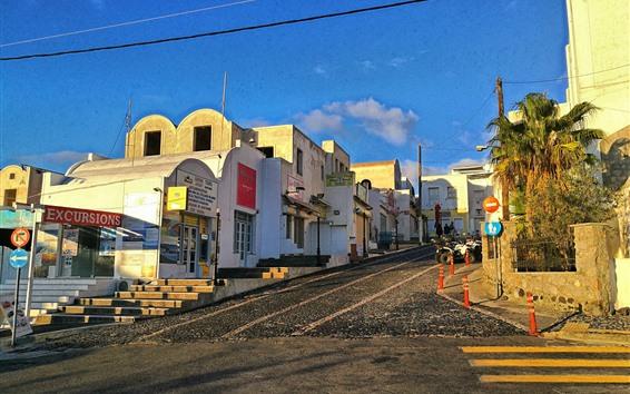 Fondos de pantalla Grecia, camino, pendiente, casas