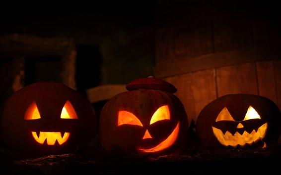 Fond d'écran Halloween, trois citrouilles, lanterne, nuit