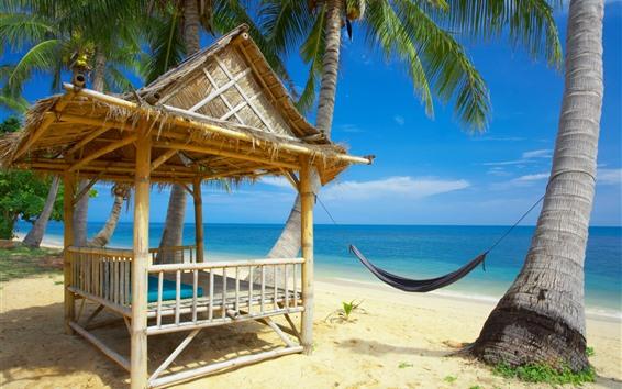 Fondos de pantalla Hamaca, playa, mar, palmeras, cabaña, tropical