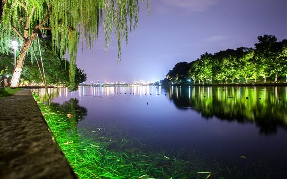 Wallpaper Hangzhou West Lake, night, trees, green illumination, park, China