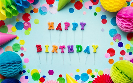 Papéis de Parede Feliz aniversario, decorações coloridas