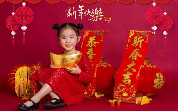 Fondos de pantalla Feliz año nuevo chino, linda niña, estilo rojo