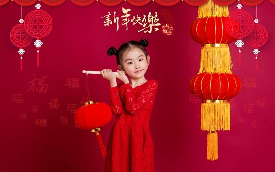 Papéis de Parede Ano novo chinês feliz, lanternas, menina encantadora