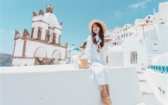 Hintergrundbilder Happy Chinese girl, Santorini, Griechenland