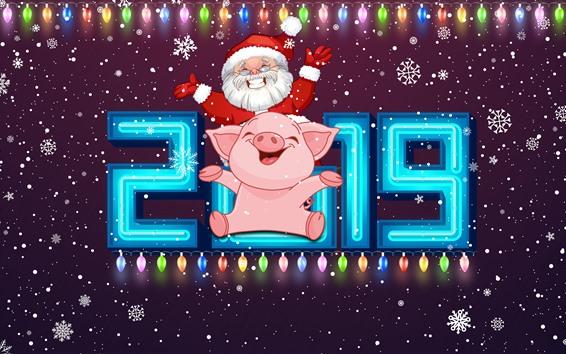 Papéis de Parede Feliz ano novo 2019, ano porco, Papai Noel, flocos de neve, luzes coloridas