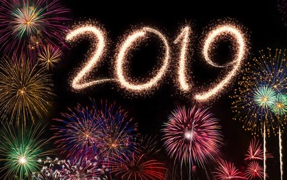 Papéis de Parede Feliz Ano Novo 2019, lindos fogos de artifício, noite da cidade