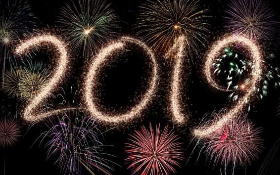 Fondos de pantalla Feliz año nuevo 2019, hermosos fuegos artificiales, noche