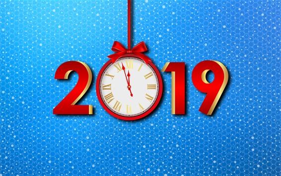 Fond d'écran Bonne année 2019, horloge, fond bleu