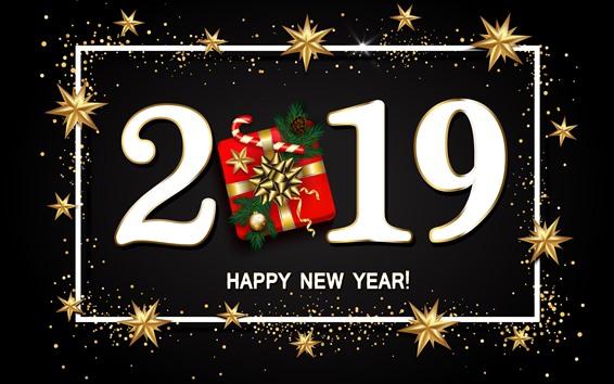 Papéis de Parede Feliz Ano Novo 2019, presente, estrelas
