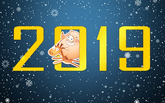 Wallpaper Happy New Year 2019, pig, deer, snowflakes