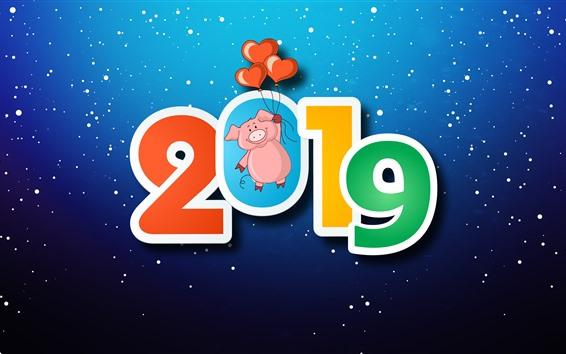 Papéis de Parede Feliz ano novo 2019, porco, corações de amor, flocos de neve, fundo azul