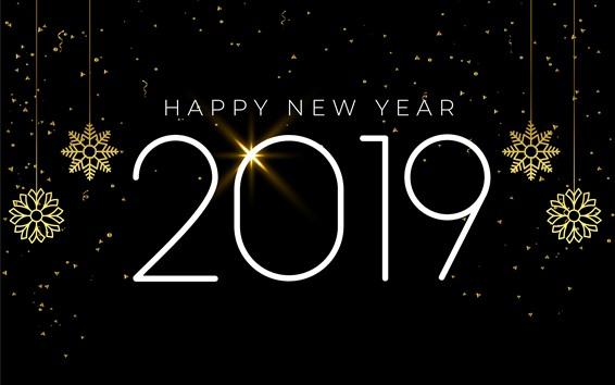 Papéis de Parede Feliz Ano Novo 2019, flocos de neve, estilo simples