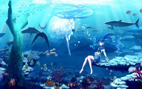 Wallpaper Hatsune Miku, blue hair anime girls, underwater, sea, fish
