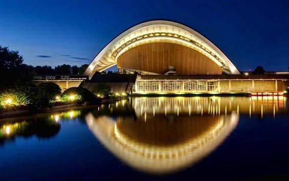 Fondos de pantalla Haus der Kulturen der Welt, agua, noche, luces, Berlín, Alemania