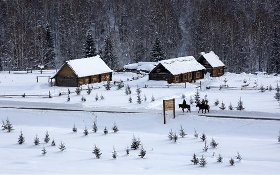 Wallpaper Hemu Village, snow, houses, trees, winter, Xinjiang, China