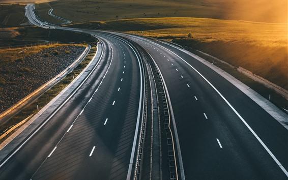 Fondos de pantalla Carretera, carreteras, sol, mañana