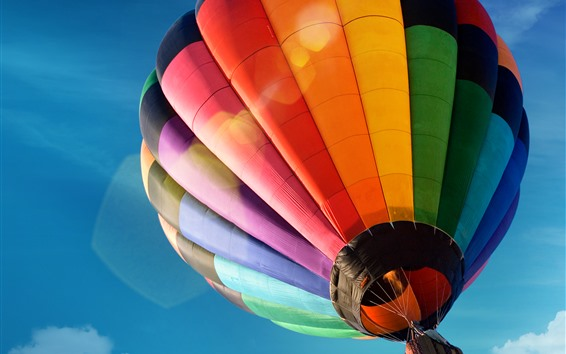 Wallpaper Hot air balloon, colorful, blue sky