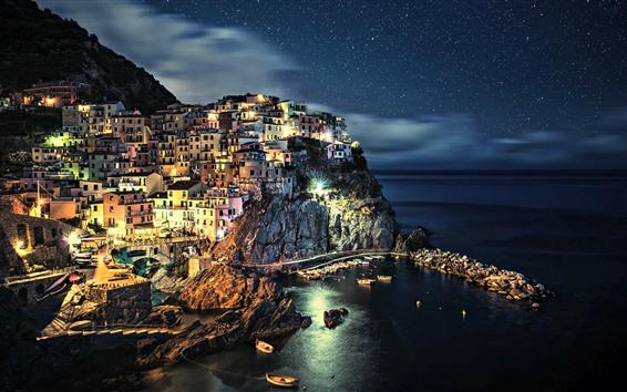 Fondos de pantalla Italia, Cinque Terre, Costa, casas, mar, estrellado, hermosa noche