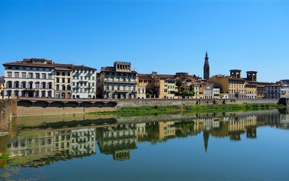 Wallpaper Italy, Florence, Tuscany, city, houses, river