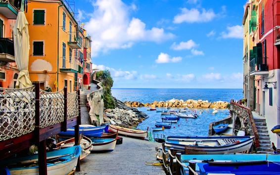 Fondos de pantalla Italia, Riomaggiore, casas, barcos, mar