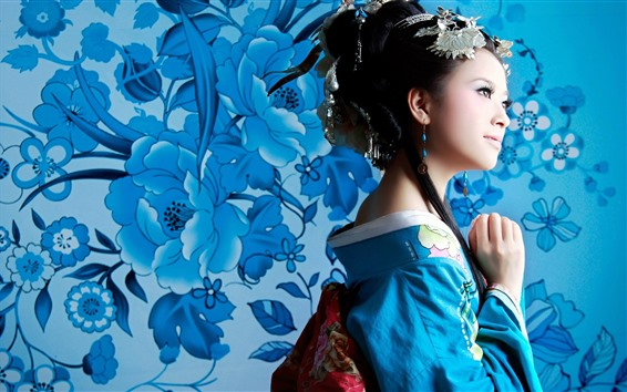 Wallpaper Japanese girl, blue kimono, flowers background