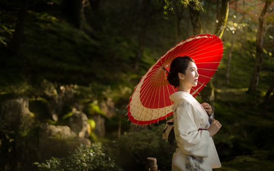 Fondos de pantalla Chica japonesa, paraguas, árboles