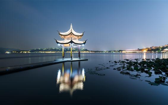 Fondos de pantalla Pabellón de Jixian, lago del oeste, Hangzhou, noche, iluminación, China