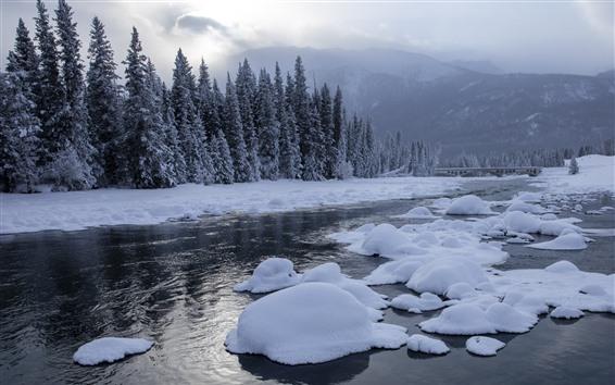 Fondos de pantalla Kanas hermoso invierno, nieve, árboles, río, nubes, China