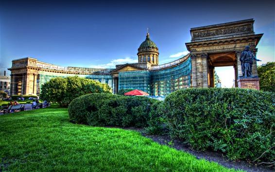 Fondos de pantalla Kazán, Catedral, jardín, estilo HDR