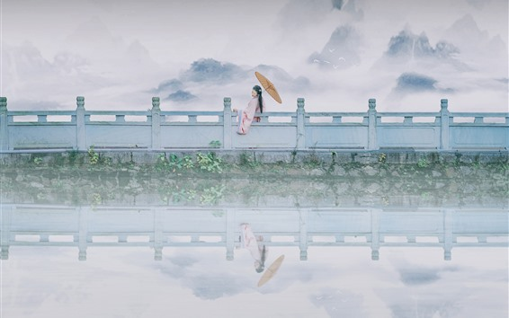 Wallpaper Lake, fence, retro style girl, mountains, fog, hazy