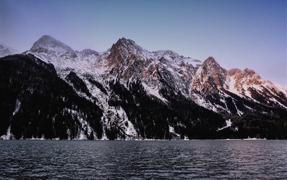Fondos de pantalla Lago, montañas, nieve, paisaje de la naturaleza