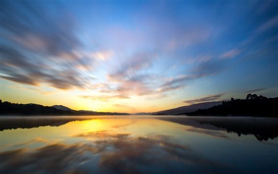 Fondos de pantalla Lago, reflexión del agua, cielo, nubes, amanecer
