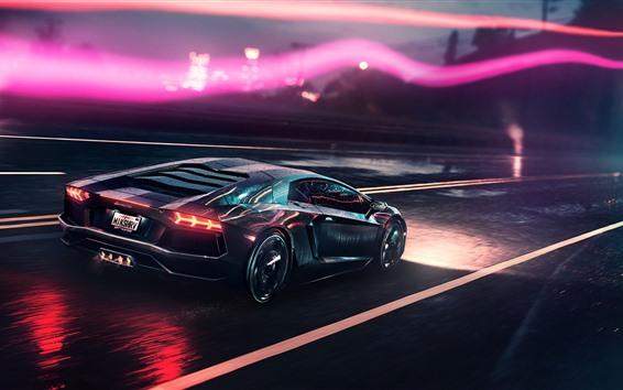 Fondos de pantalla Supercar Lamborghini en la noche, gotas de agua