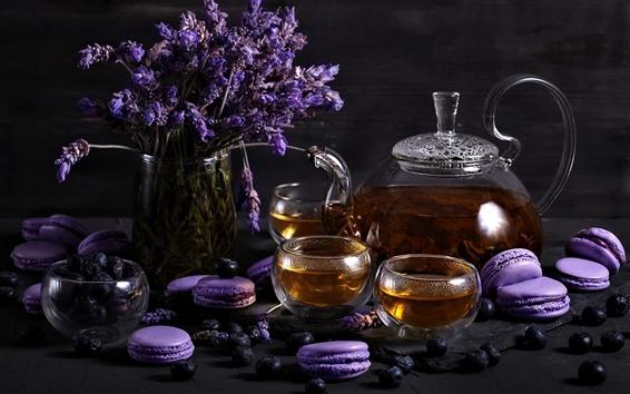 Fondos de pantalla Lavanda, té, macaron púrpura, pasteles