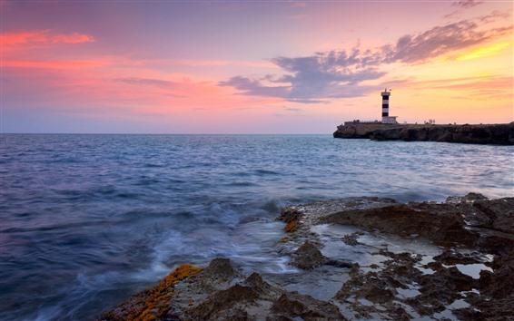 Fondos de pantalla Faro, mar, costa, cielo rojo, puesta de sol.