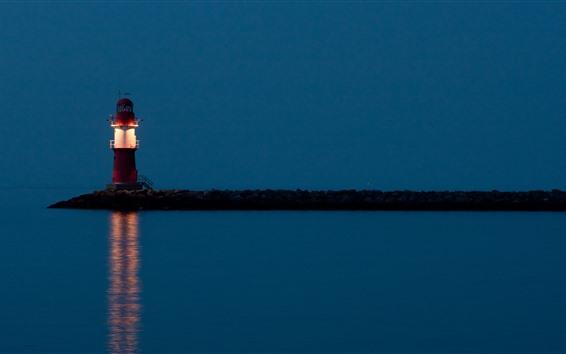 Fondos de pantalla Faro, mar, noche, iluminación.