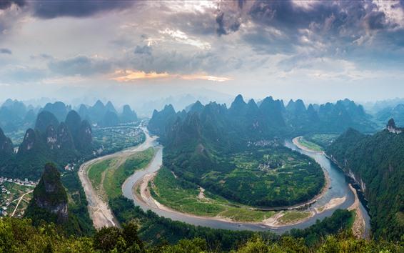 Обои Река Лицзян первый залив, горы, деревня, красивый пейзаж, Китай